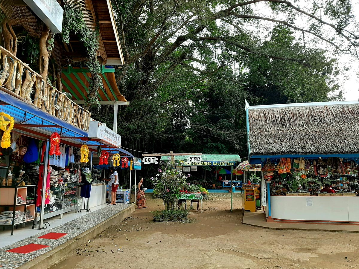 Entrance to Balete Tree area with shops