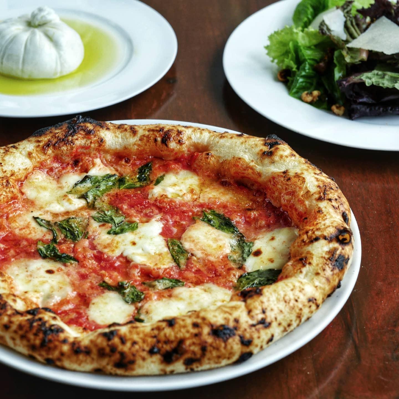 gino's brick oven pizza, mozzarella cheese, salad