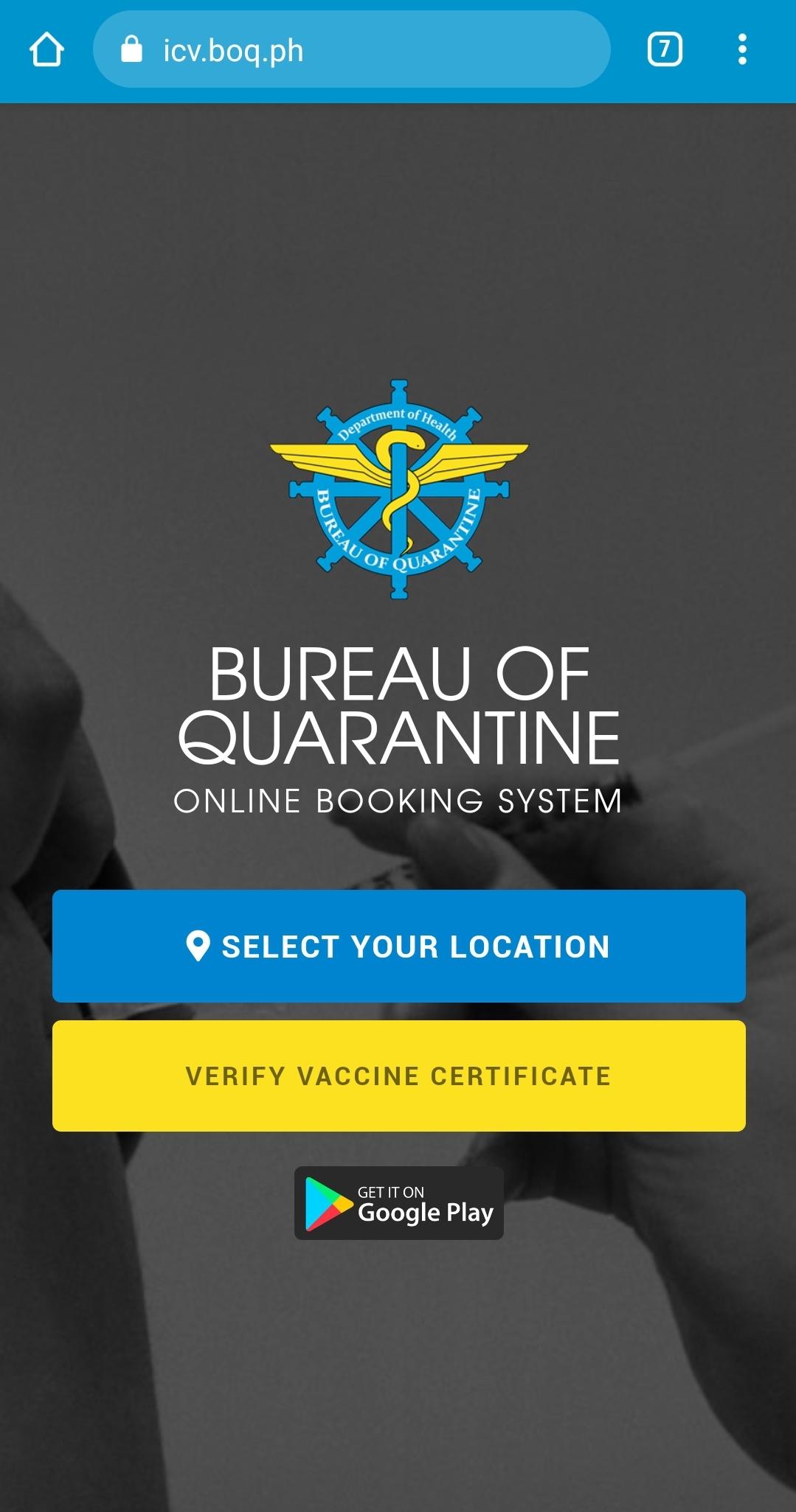 BOQ International Certificate of Vaccination - Step 1